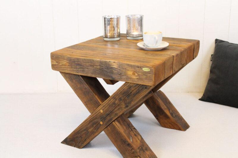 Sofabord med krydsben mørkebrun - 56 cm