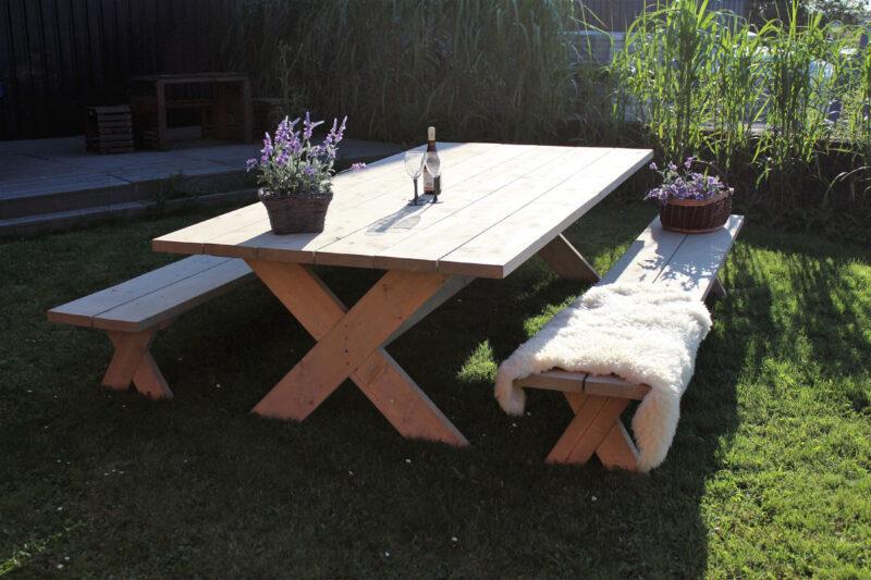 Plankebord med 2 bænke idalund design