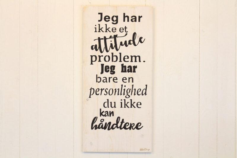 Attitude problem træskilt hvid