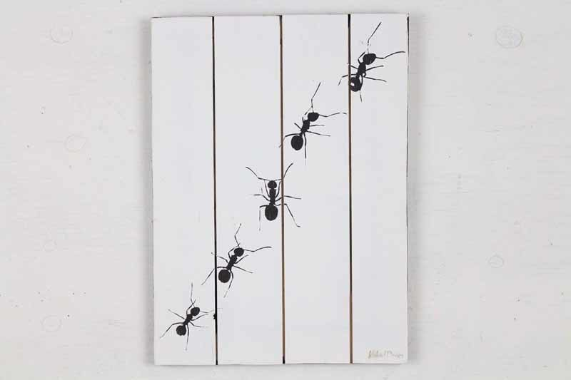Skilt med motiv af 5 myrer fra Idalund Design. Håndlavet af genbrugstræ. 33x46 cm.