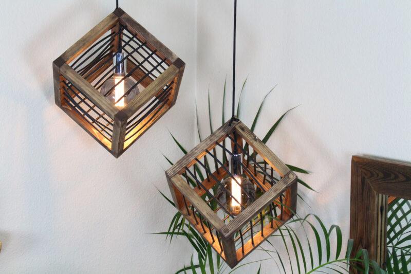 Loft lampe Diamant mørkebrun med snøre 28 cm Håndlavet i genbrugstræ af Idalund Design