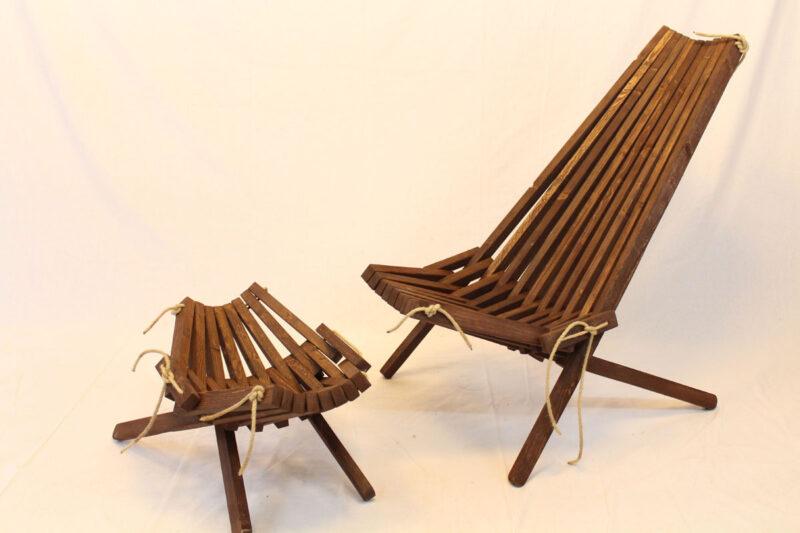 Lamel stol og bord sæt sort