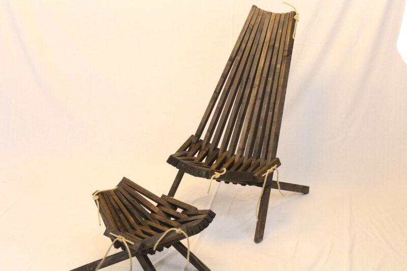 Lamel stol og fodskammel sæt mørkebrun