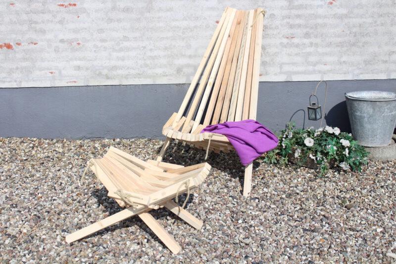 Lamel stol og bord sæt natur